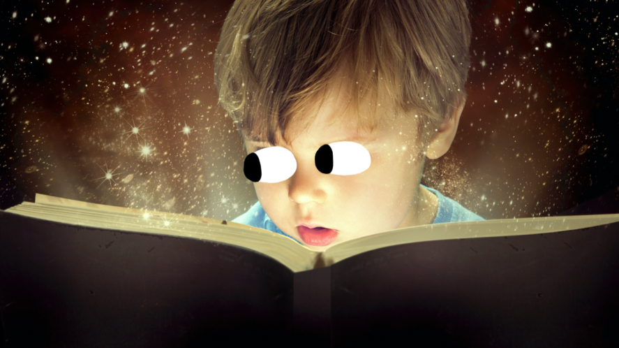 A child reading a magical book