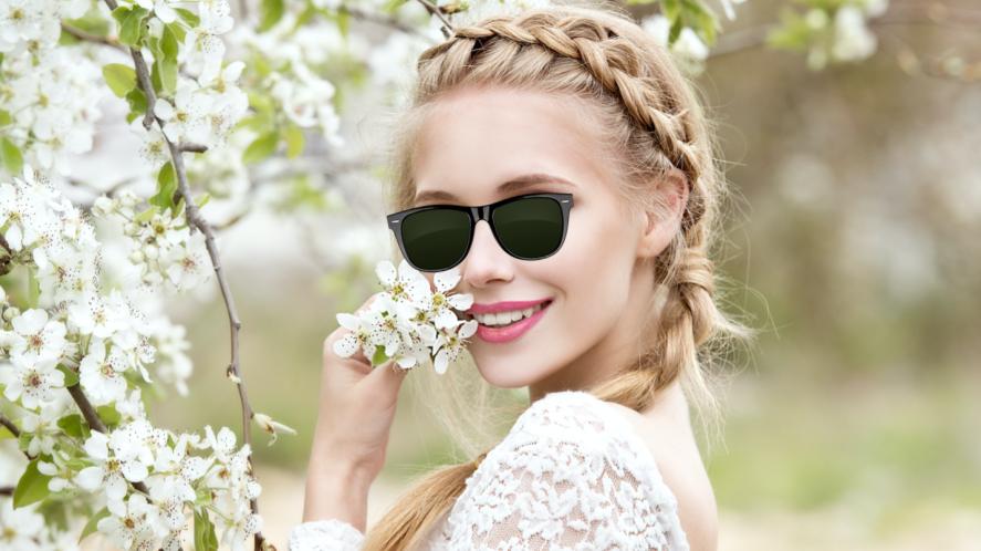 A bride wearing sunglasses