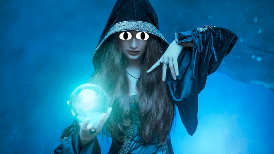 A mysterious woman holding a crystal ball