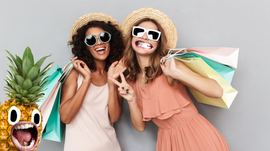 Two women with lots of shopping bags