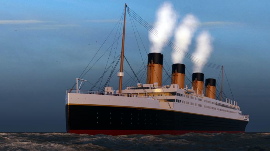A 3D rendering of the Titanic