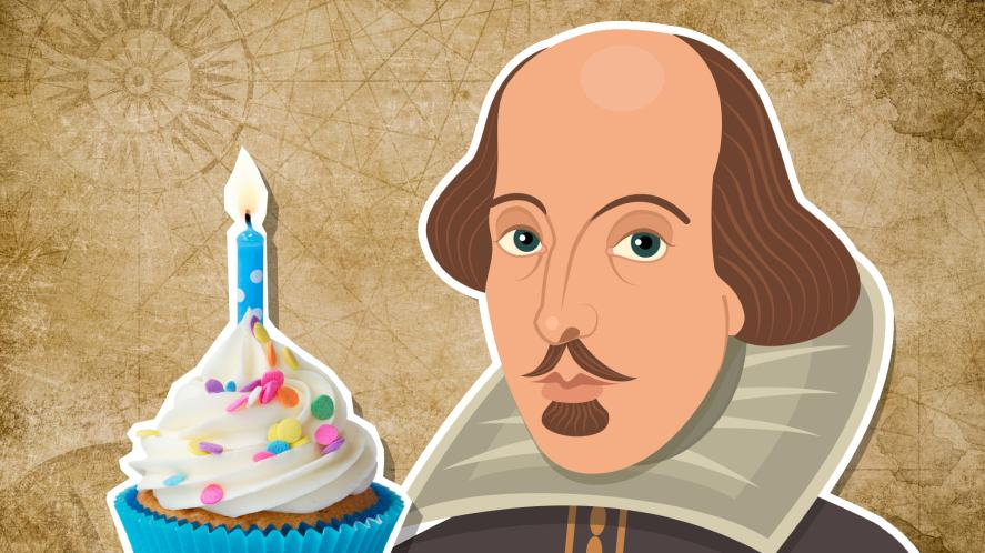 William Shakespeare and a birthday cake