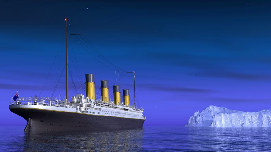 A ship sailing towards an iceberg