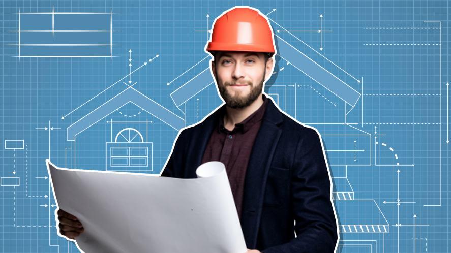 An architect wearing a hard hat