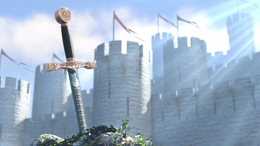 A sword and a medieval castle