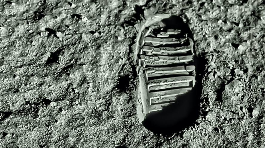 A footprint on the moon's surface