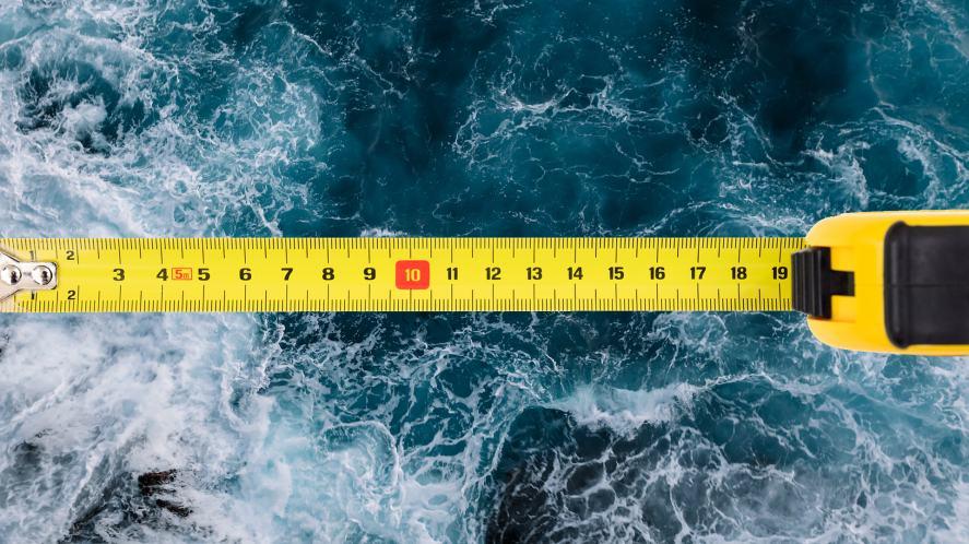 An ocean being measured