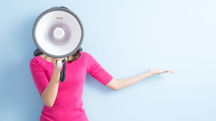 A woman with a megaphone