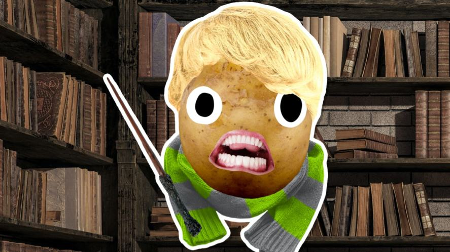 A potato dressed up to look like Draco Malfoy
