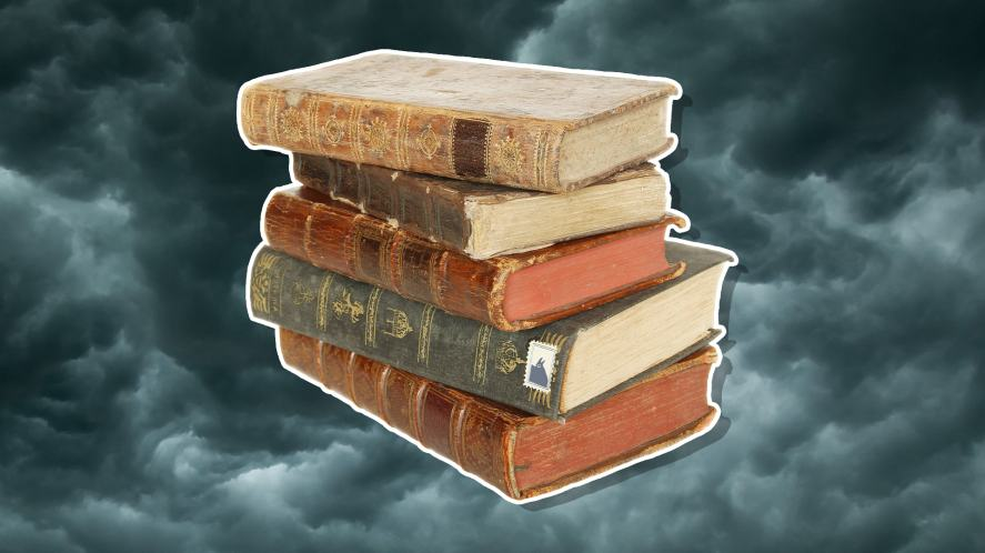 A pile of leather-bound books