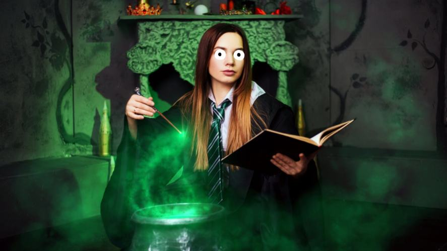 A wizard student learning how to cast a spell