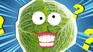 Vegetable with googly eyes