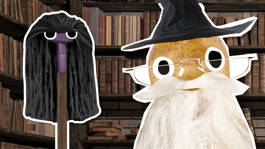 Snape and Dumbledore in a school library
