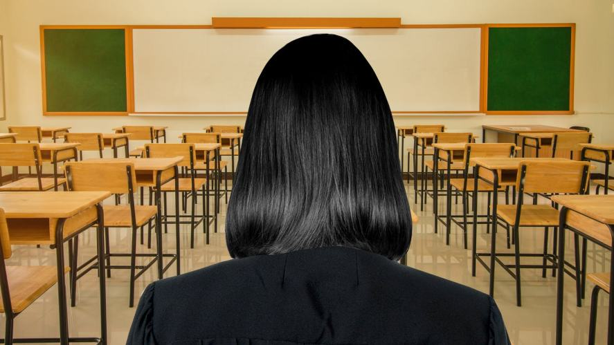 A mysterious figure in a classroom