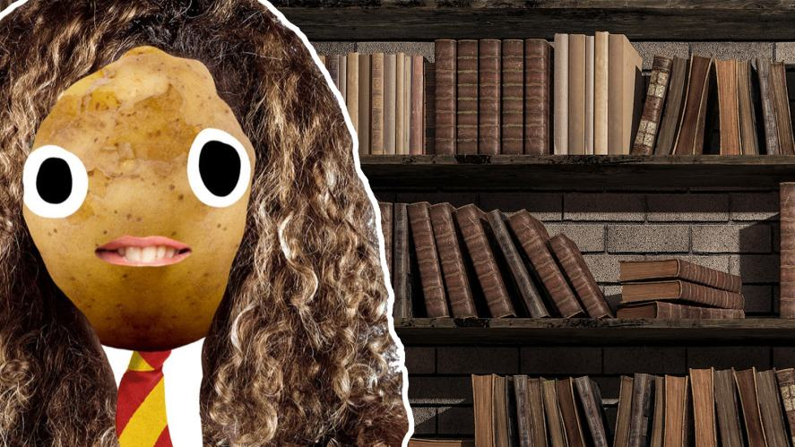 Hermione in a library