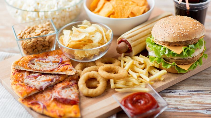 A selection of fast food