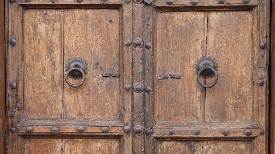 An old set of wooden doors