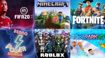 Fortnite, Roblox, Minecraft, Aquapark Io, Fifa
