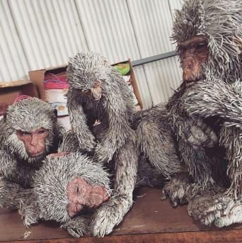 Monkeys made from paper