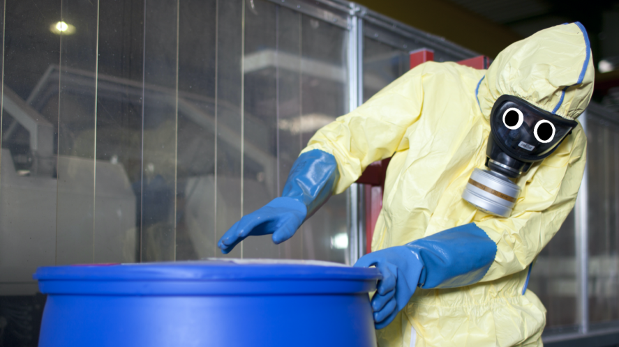 A person in a chemical suit