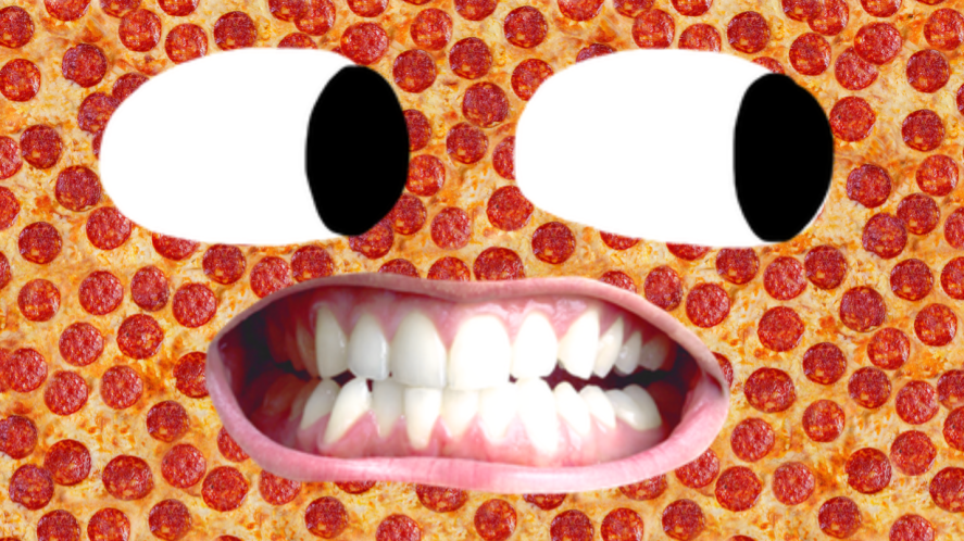 A big pepperoni pizza with a mischievous face