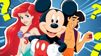 Disney characters Ariel, Aladdin and Mickey