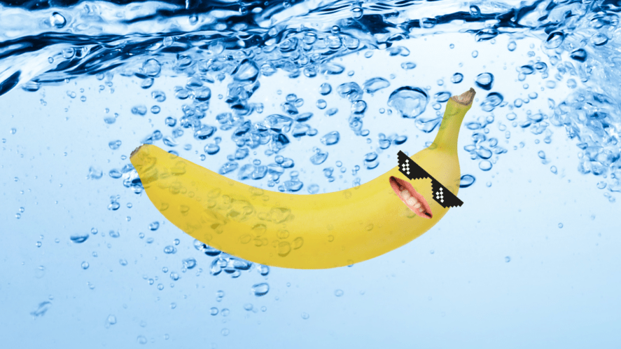 A banana in water