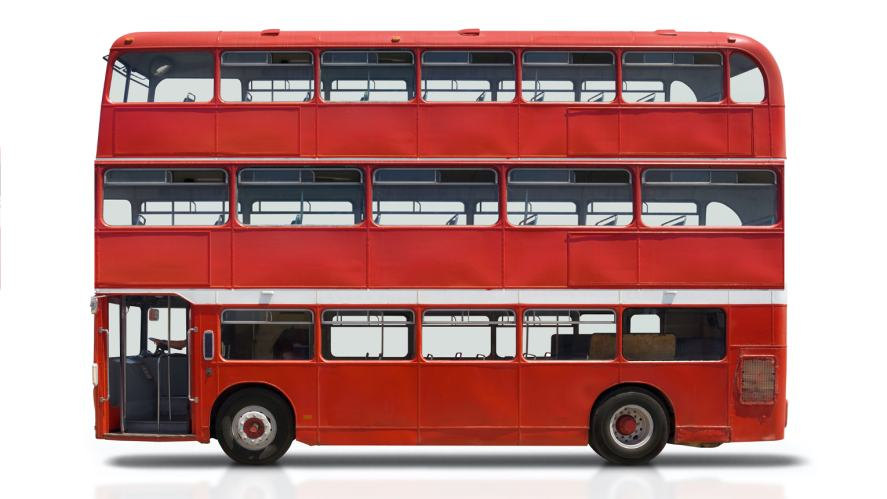 A triple-decker bus