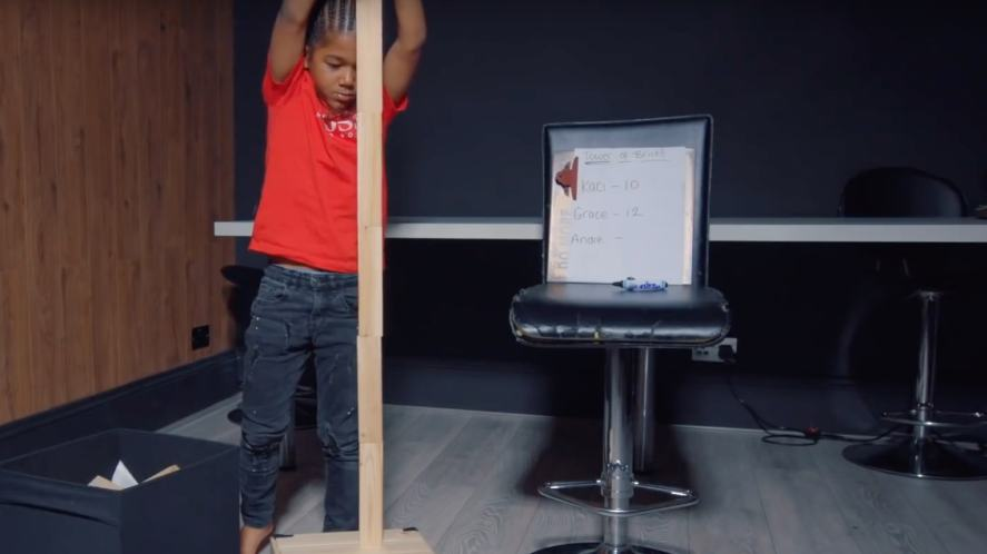 Andre builds a tower