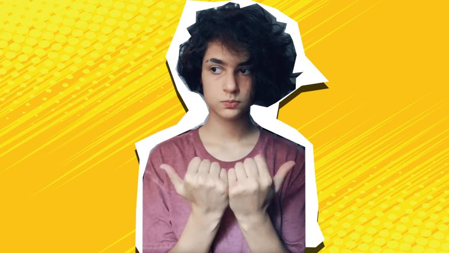 Boy yellow background