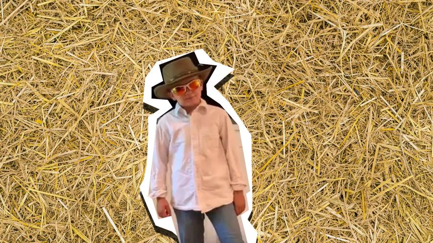 Tik Tokker on straw background
