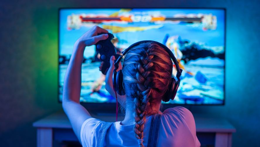 A girl playing a video game