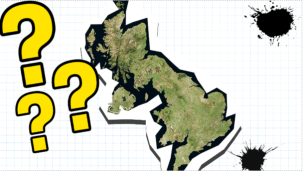 Uk with question marks and ink splats