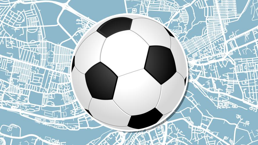 A football and a map of Newcastle city centre