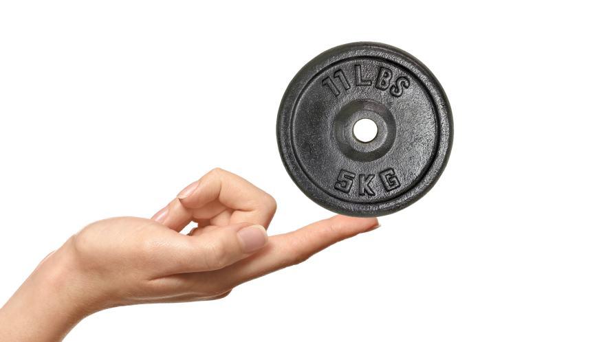 A finger balancing a weight