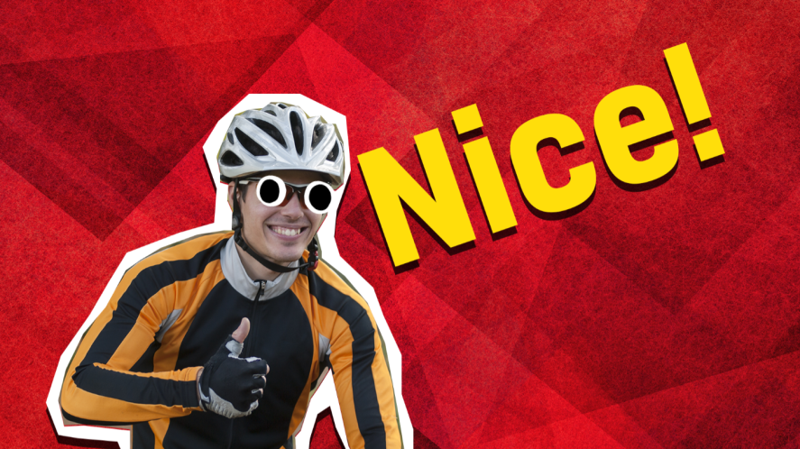 Cyclist doing thumbs up