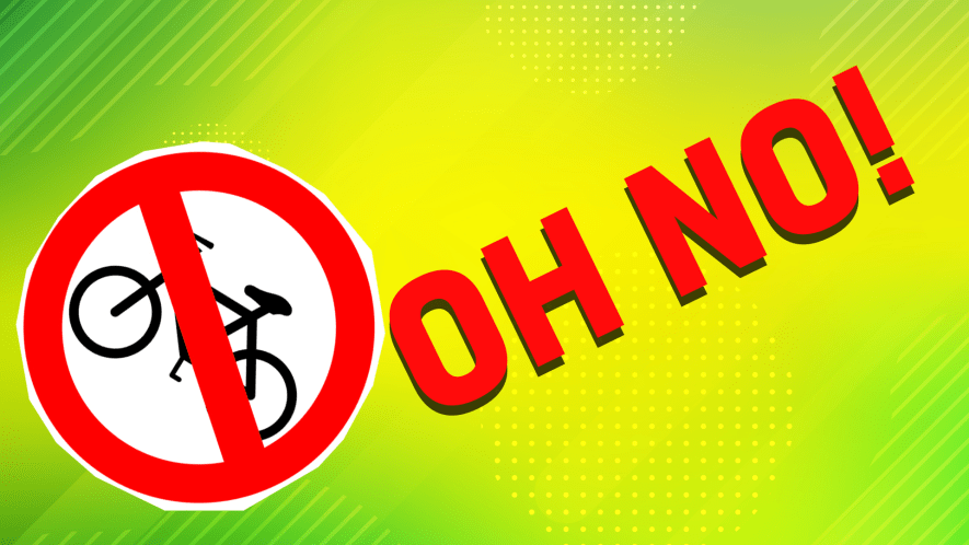 The words oh no! and a cycling sign
