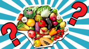 Fruit and veg on striped background with question marks