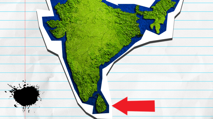 Map of India with arrow
