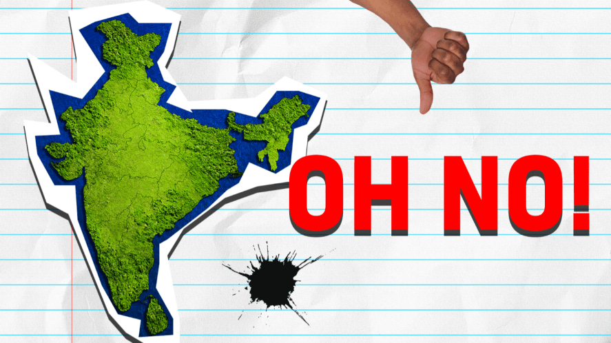 Map of india on lined paper with oh no, thumb and ink splots