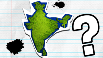 Map of India on lined paper with question mark and ink blots