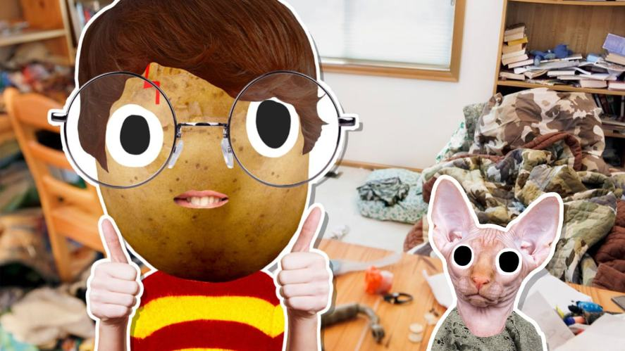 Harry and Dobby in an untidy room