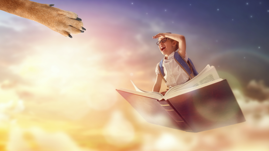 A child sitting on a flying book