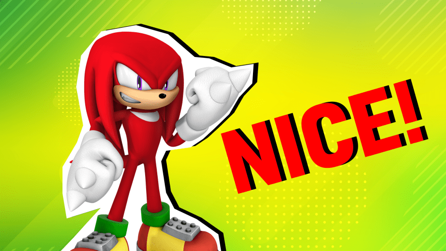 Knuckles on a green background with the words nice