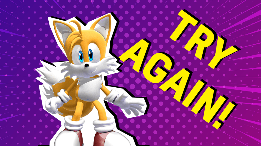 Tails on a purple background with the words try again