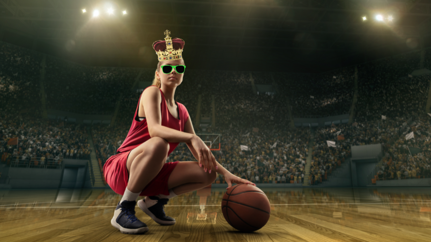 A basketball player wearing a crown