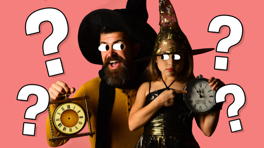 A wizard and a witch holding carriage clocks
