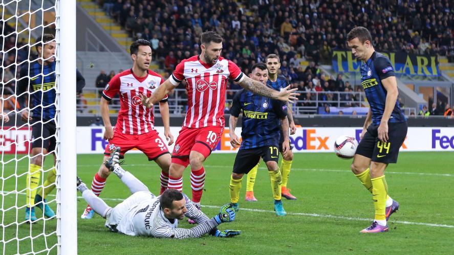 Samir Handanovic saves goal during the football match versus FC Inter