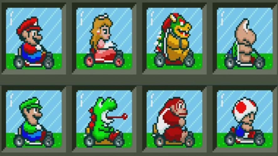 Mario Kart player selection screen