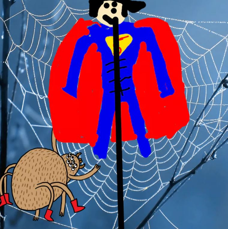 Superboi stuck in a spiderweb - Complete the Drawing